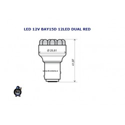 Žarnica LED 12V BAY15D 12 Led  DUAL RED