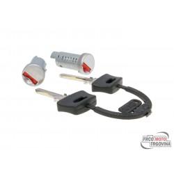 steering lock / 2 lock barrel set for Piaggio ZIP, TPH, NRG, SKR, Free, Sfera, Vespa PX, PK, P, Cosa