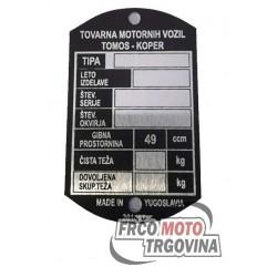 Identifikacijska ploščica Tomos - 64mm