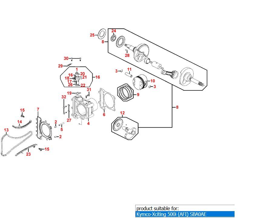 Piston ring set Kymco Xciting 500 , 500i , MXU 500 , UXV 500 ,