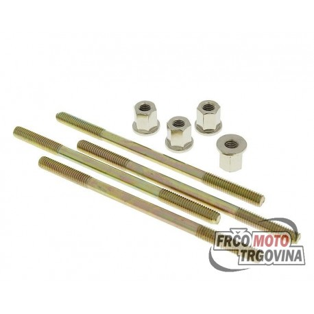cylinder bolt set Naraku incl. nuts M6 thread 110mm overall length - 4 pcs each