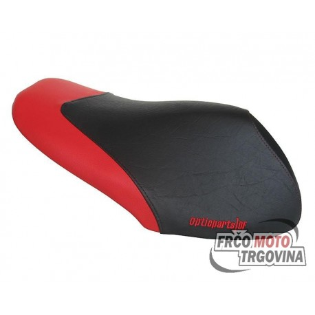 Seat cover Opticparts DF black / red for Yamaha Aerox, MBK Nitro