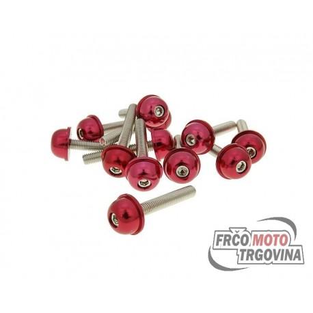 Hexagon socket screw set - anodized aluminum screw head red - 12 pcs - M5x30