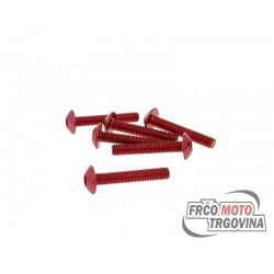 Fairing screws hex socket head - anodized aluminum red - set of 6 pcs - M5x30