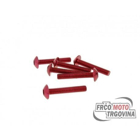 Fairing screws hex socket head - anodized aluminum red - set of 6 pcs - M5x30