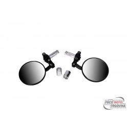 handle bar end mirror set aluminum CNC black round