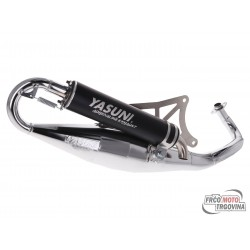 Exhaust Yasuni Scooter R black chromed for Piaggio