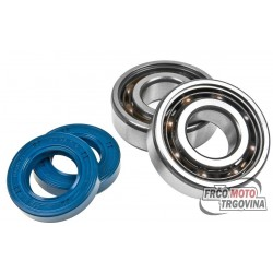 Shaft bearings and seals DR Teflon, Aprilia / Derbi / Gilera (EBE / EBS / D50B)