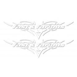 Set nalepk Fast & furious white - 120 mm - 2 kosa