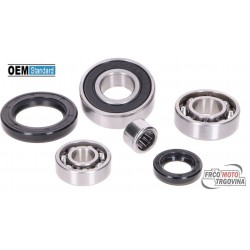 Bearing set transmission including shaft seals for Piaggio long