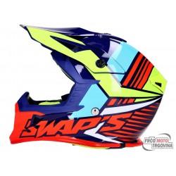 Helmet SWAPS Industry S818 motocross helmet in blue / fluo yellow / red