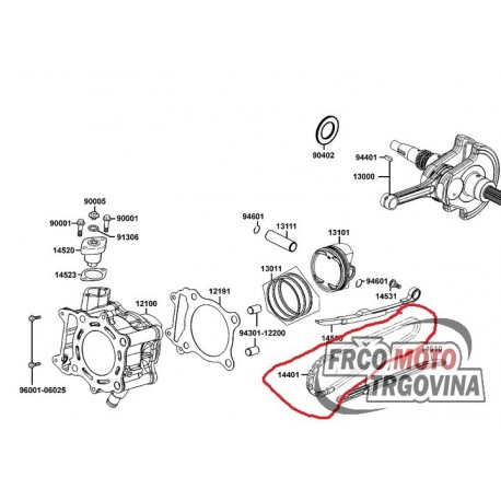 Cam chain - Kymco MXU 400, Maxxer 400 original 14401-PWB1-900