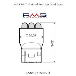 Žarnica Led 12V T20 6Led Oranžna  RMS