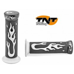 Rubber handles Black with White flames TNT
