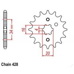 Zobnik 16z  YAMAHA DT 125 LC (84-87) / TZR 80 RR (96)