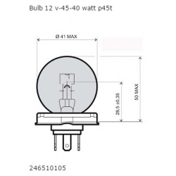 Bulb  12V 45/40W P45T - White