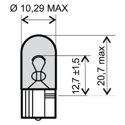 Bulb  - 12V 5W, R5W BA15S white