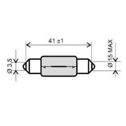 Bulb - RMS - 6V 15W, T15X42 S8.5 -white