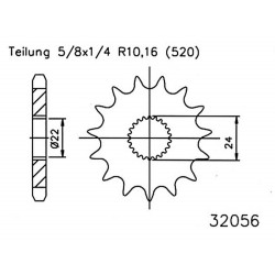 Front sprocket ESJOT 16- Aprilia RS 125 (98 - 11)