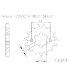 Zobnik sprednji- ESJOT 14 zob- Yamaha YZF R 125cm(08-12)