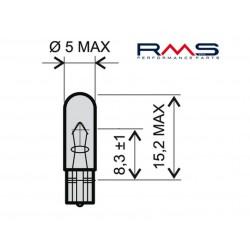 Bulb RMS - 12V 1,2W, W1,2W T5 -bela