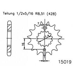 Prednji lančanik -ESJOT CNC - 16 zob - Derbi GPR Nude 2T 125