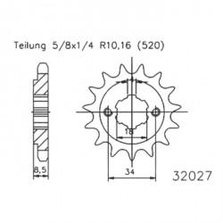 Prednji lančanik  ESJOT CNC 14 zob-Barossa Magna / Derbi DRX / Honda CB 250
